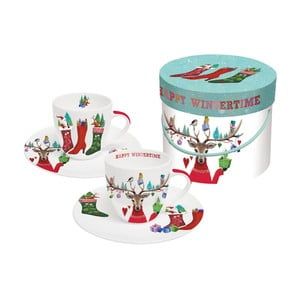 Sada 2 šálků z kostního porcelánu na espresso s vánočním motivem v dárkovém balení PPD Happy Witertime, 100 ml