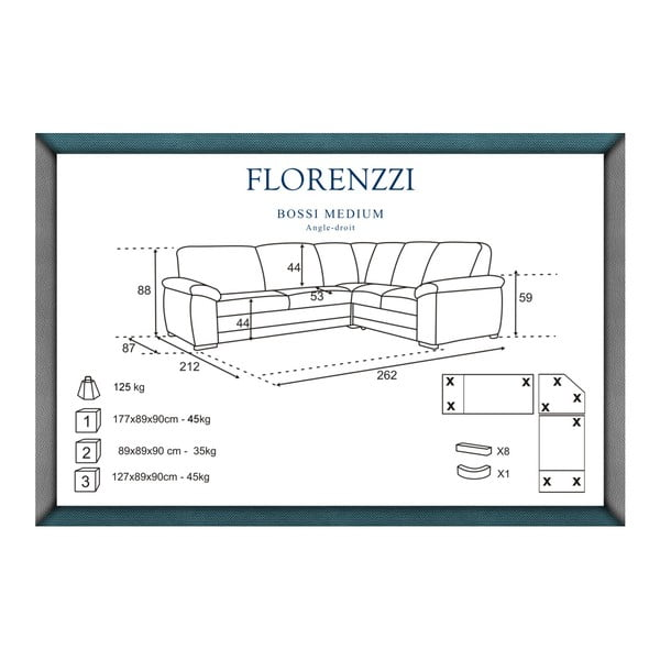 Canapea cu șezut pe partea dreaptă Florenzzi Bossi Medium, maro închis