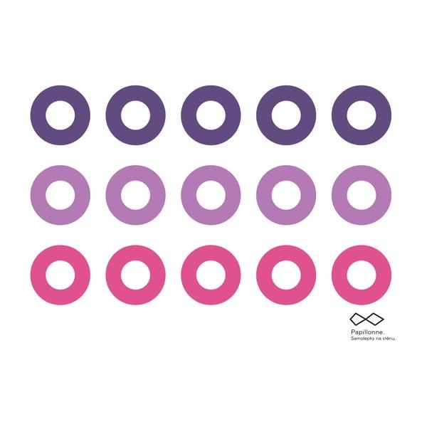 Vinylová samolepka Růžová kolečka, 15 ks