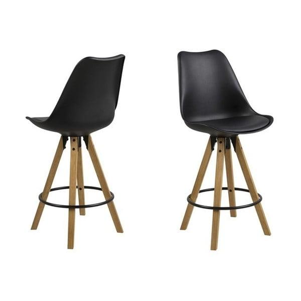 Černá jídelní židle s podnožím z kaučukového dřeva Actona Dima