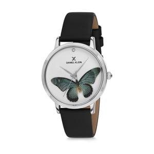 Dámské hodinky s černým koženým řemínkem Daniel Klein Butterfly
