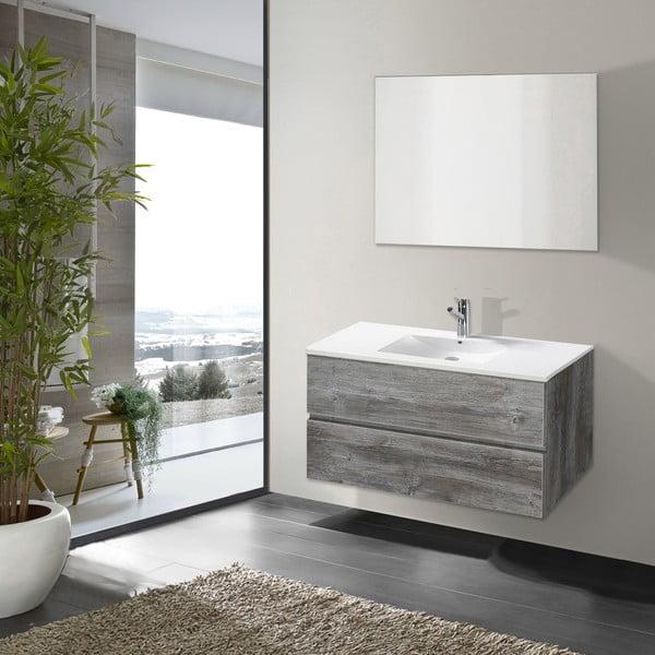 Koupelnová skříňka s umyvadlem a zrcadlem Flopy, vintage dekor, 90 cm