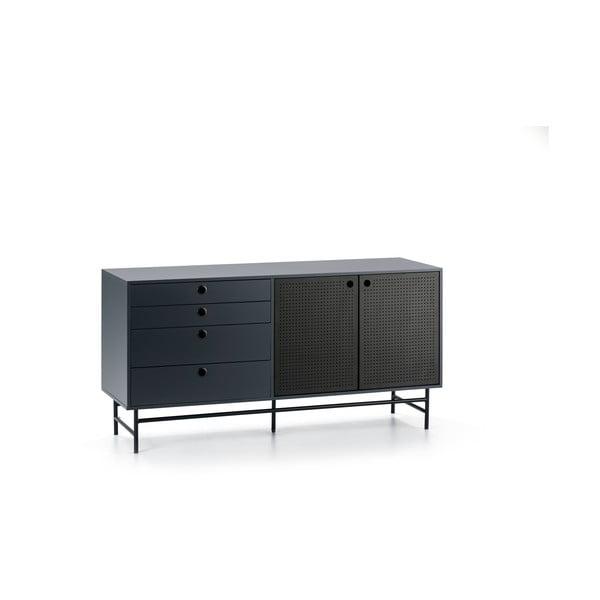 Comodă Teulat Punto, lungime 150 cm, negru-albastru