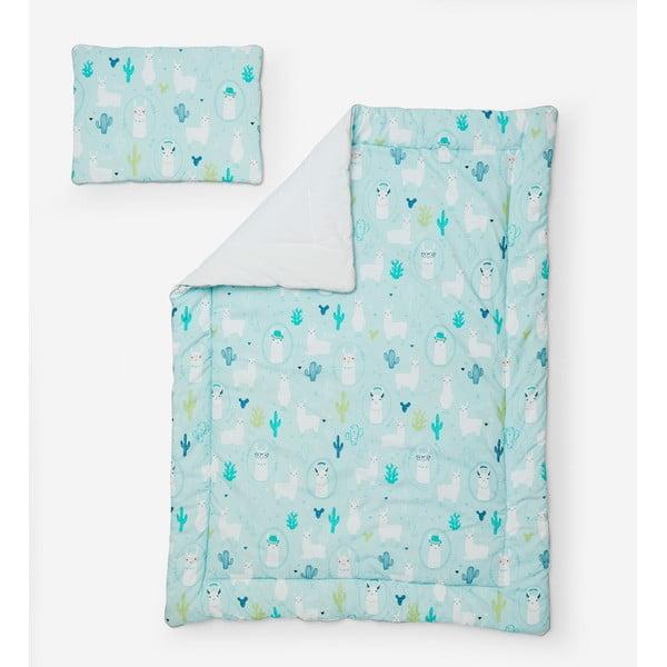 Llamas kék gyerekpaplan és gyerekpárna szett, 100 x 135 cm - Pinio