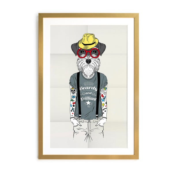 Hipster Dog keretezett poszter, 40 x 60 cm - Really Nice Things
