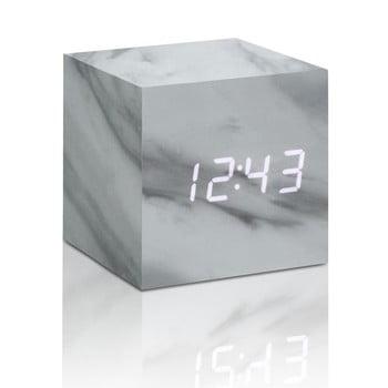 Ceas LED cu aspect de marmură Gingko Cube Click Clock, alb