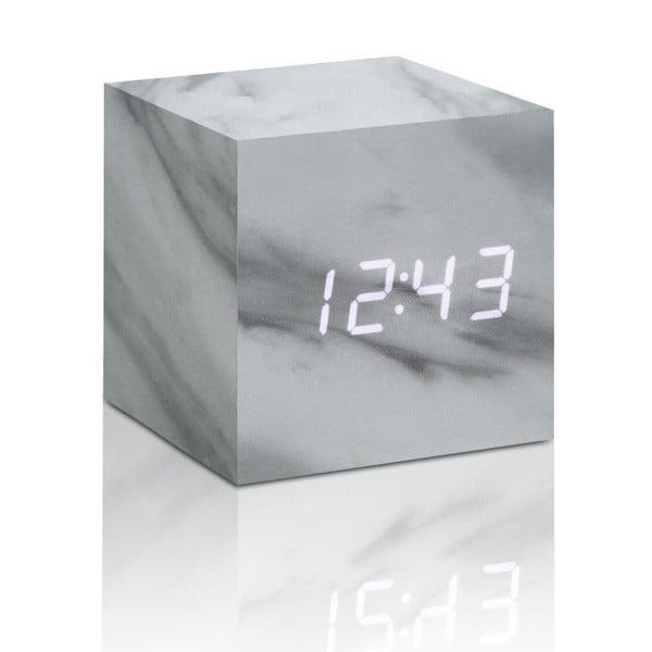 Budík v mramorovém dekoru s bílým LED displejem Gingko Cube Click Clock