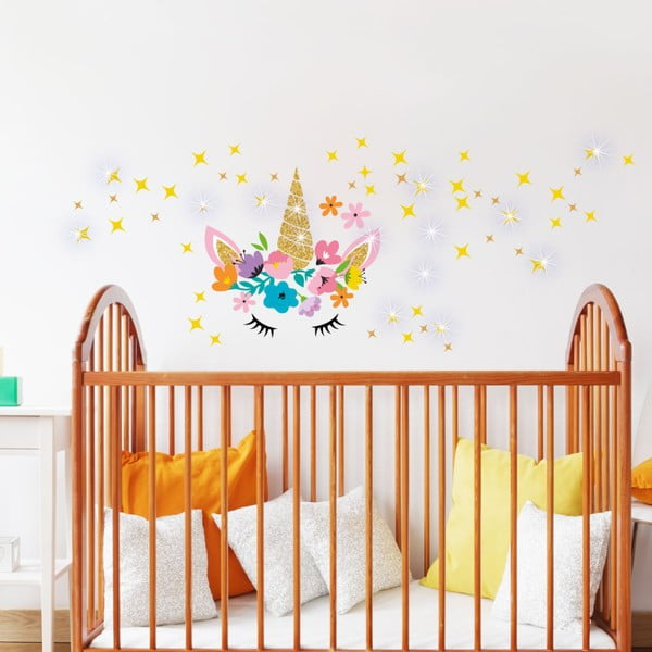 Nástěnné dětské samolepky Ambiance Unicorn With Stars and Swarovski Crystal