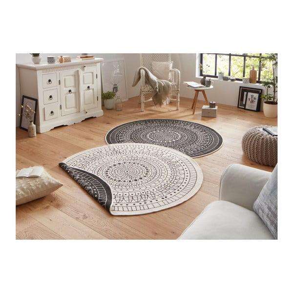 Černo-krémový oboustranný koberec vhodný i na ven Bougari Porto, ⌀ 140 cm