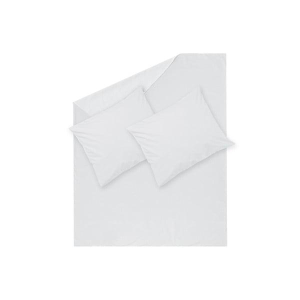 Bílé povlečení Hawke&Thorn Parker Simple,240x220cm+2xpolštář 50 x 60cm