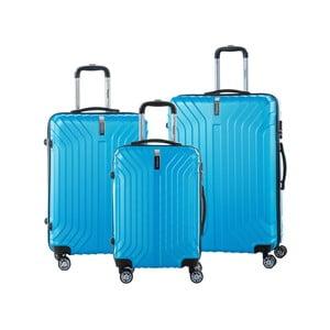 Sada 3 tyrkysově modrých cestovních kufrů na kolečkách se zámkem SINEQUANONE