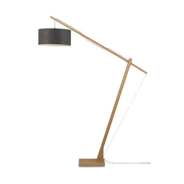 Stojací lampa s tmavě šedým stínidlem a konstrukcí z bambusu Good&Mojo Montblanc