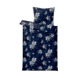 Lenjerie de pat Södahl Vintage Bloom, 140 x 200 cm, albastru închis