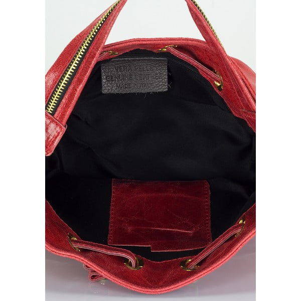 Červená kožená kabelka Lisa Minardi Prisha