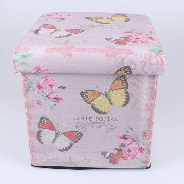 Taburet s úložným prostorem Butterflies