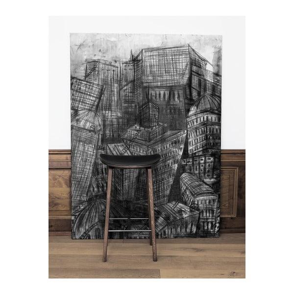 Přírodní barová židle  z dubového dřeva NORR11 NY11, 75x35cm