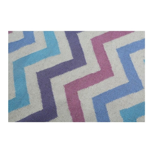 Vlněný koberec Geometry Zic Zac Pink Mix, 160x230 cm