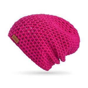 Růžová ručně háčkovaná čepice z merino vlny DOKE