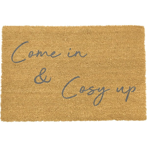 Šedá rohožka z přírodního kokosového vlákna Artsy Doormats Come In & Cosy Up,40x60cm