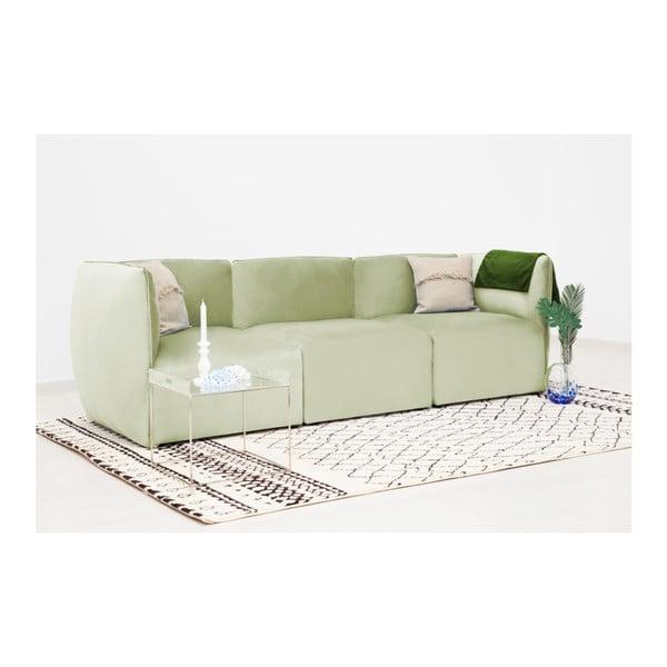 Světle zelená třímístná modulová pohovka Vivonita Velvet Cube