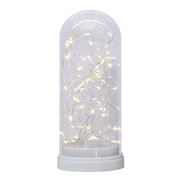 Bílá LED světelná dekorace Best Season Glass Dome, výška 25 cm