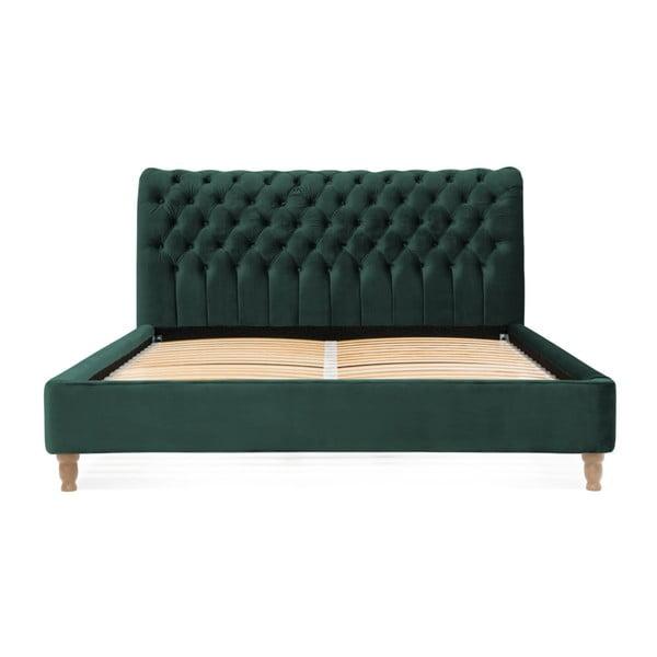 Petrolejově zelená postel z bukového dřeva Vivonita Allon, 180 x 200 cm