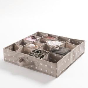 Organizator pentru sertar Compactor Dots, 16 compartimente, bej