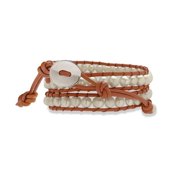 Oranžovo-bílý kožený náramek s perlami Nova Pearls Copenhagen Néreus