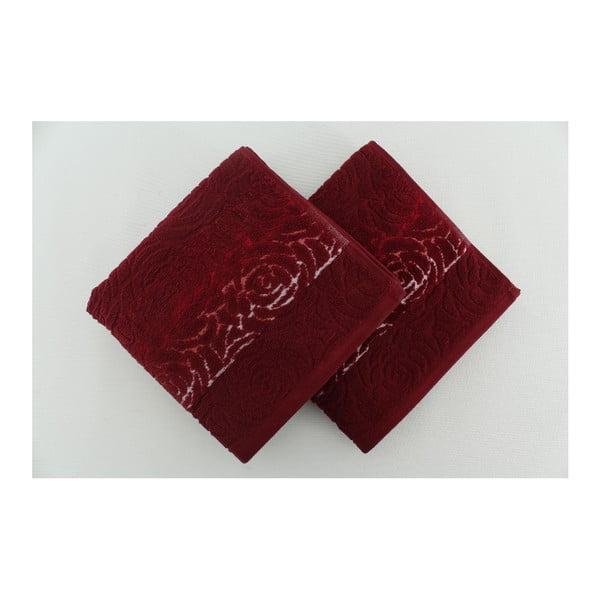 Sada 2 osušek Perimele Claret Red, 50x90 cm