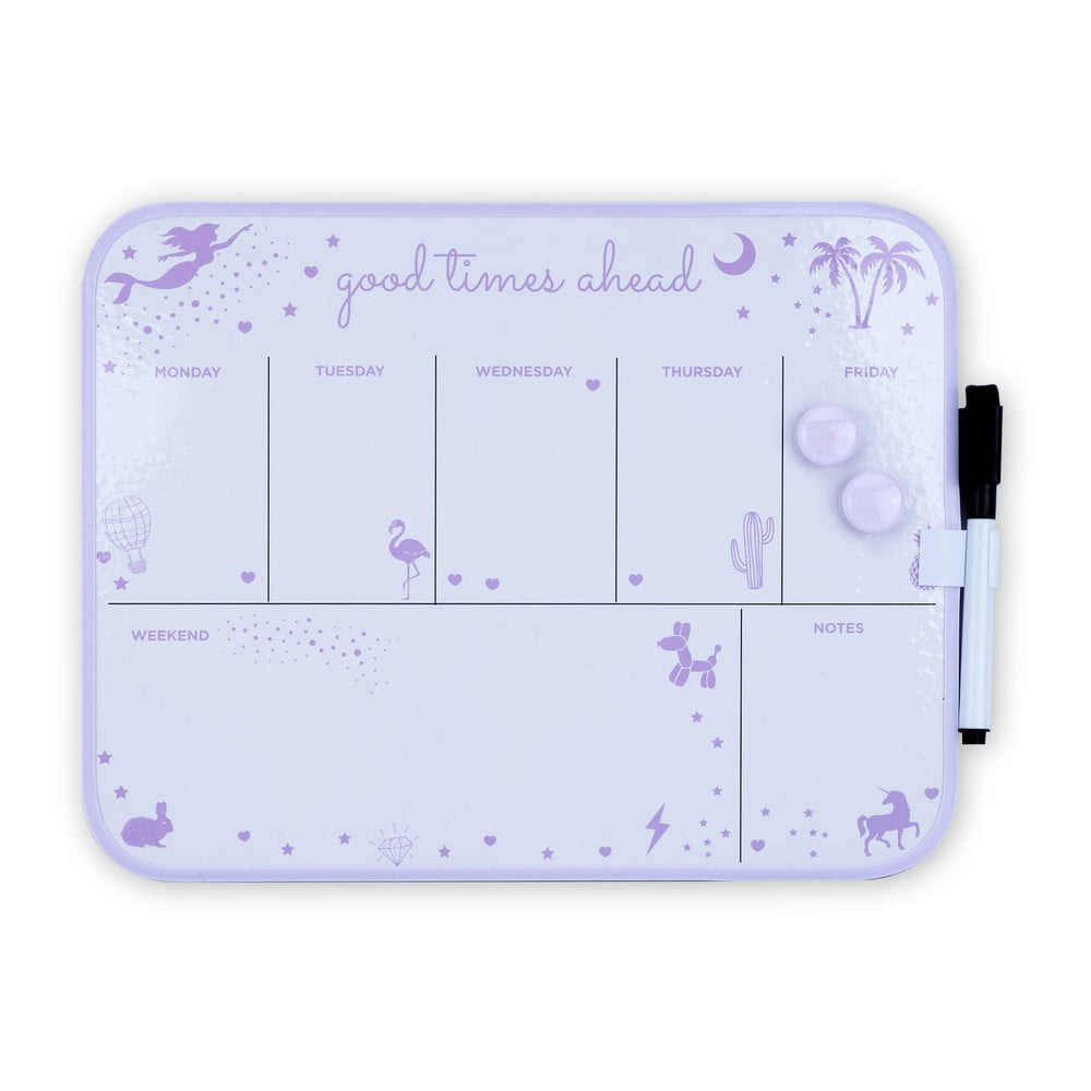 Bílo-fialový magnetický týdenní plánovač Tri-Coastal Design