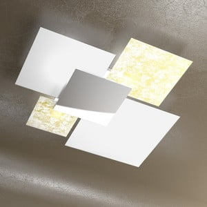 Bílé stropní svítidlo se zlatým a stříbrným detailem Barloom Fo