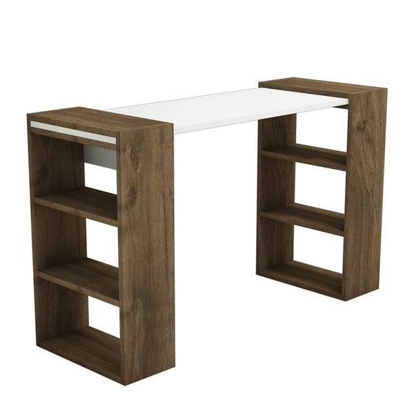 Biely pracovný stôl s detailmi v dekore orechového dreva Muzzo Handy