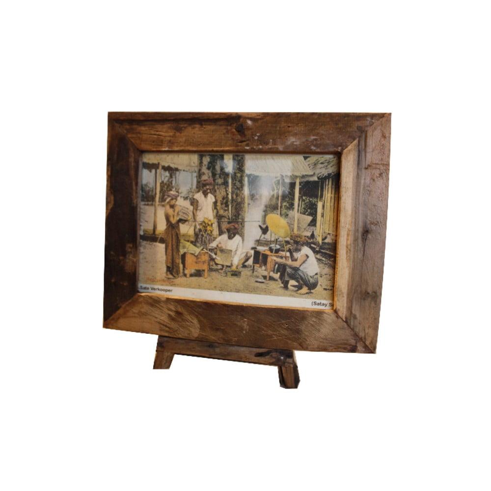 Rámeček na fotografie z teakového dřeva HSM Collection Antique, 56 x 45 cm