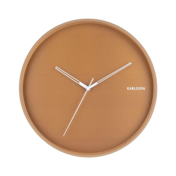 Karamelovohnedé nástenné hodiny Karlsson Hue, ø 40 cm
