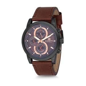 Pánské hodinky s hnědým koženým řemínkem Bigotti Milano Nathan