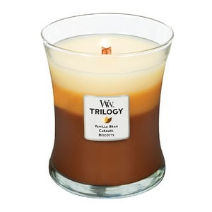 Lumânare parfumată WoodWick Trilogy, aromă de zahăr, vanilie și caramel, 60 ore