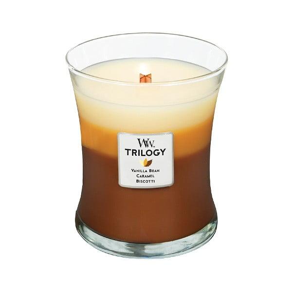 Svíčka s vůní cukroví, vanilky a karamelu WoodWick Trilogy, dobahoření60hodin