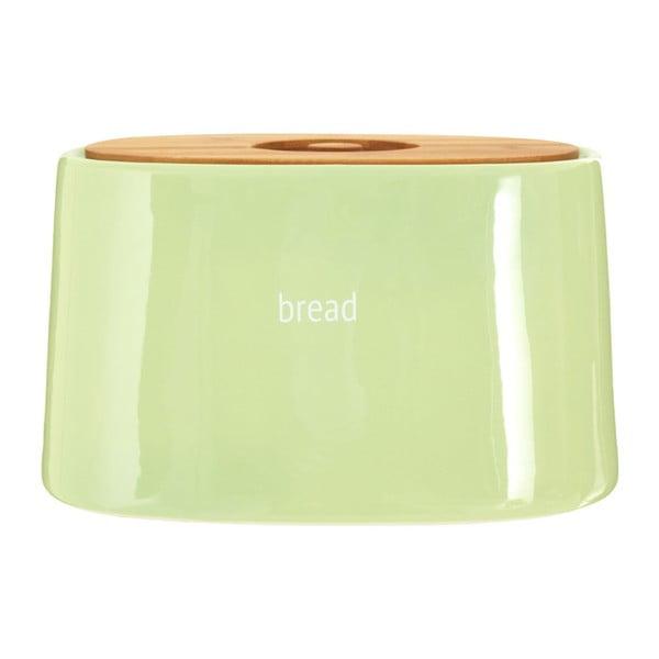 Zelený chlebník s bambusovým víkem Premier Housewares Fletcher, 7,7 l