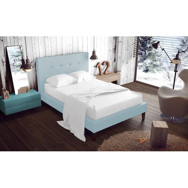 Pastelově modrá postel s přírodními nohami Vivonita Kent,140x200cm