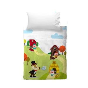 Dětský povlak na polštář a přehoz Mr. Fox Little Pigs, 120x180 cm