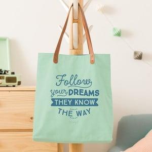 Bavlněná taška s koženými uchy Mr. Wonderful Follow your dreams