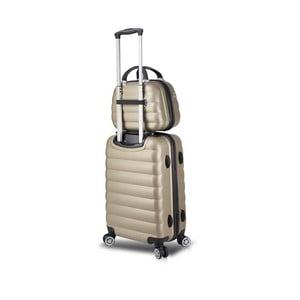 Sada zlatého cestovního kufru na kolečkách s USB portem a příručního kufříku My Valice RESSNO MU & Cabin