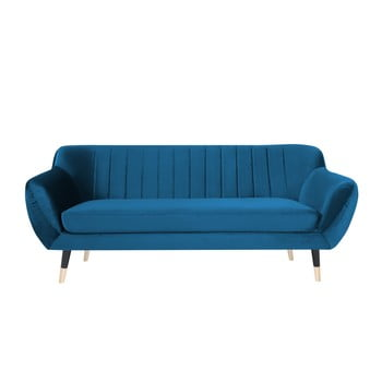 Canapea cu 3 locuri Mazzini Sofas BENITO cu picioare negre albastru