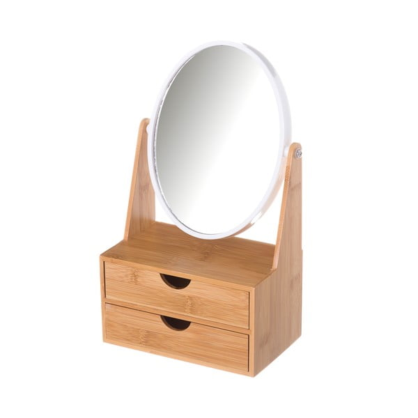 Dupla tükör 2 bambusz polccal - Unimasa