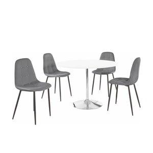 Sada kulatého jídelního stolu a 4 šedých židlí Støraa Terri