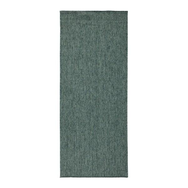 Tmavě zelený oboustranný běhoun vhodný i na ven bougari Miami, 80x350 cm