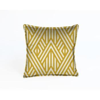 Pernă cu husă din catifea Velvet Atelier Lines,45x45cm, galben - alb
