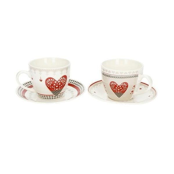 Sada 2 hrnečků s podšálky z čínského porcelánu Brandani Happy Days