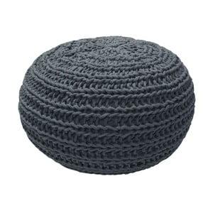 Puf tricotat OVERSEAS Natural, gri antracit