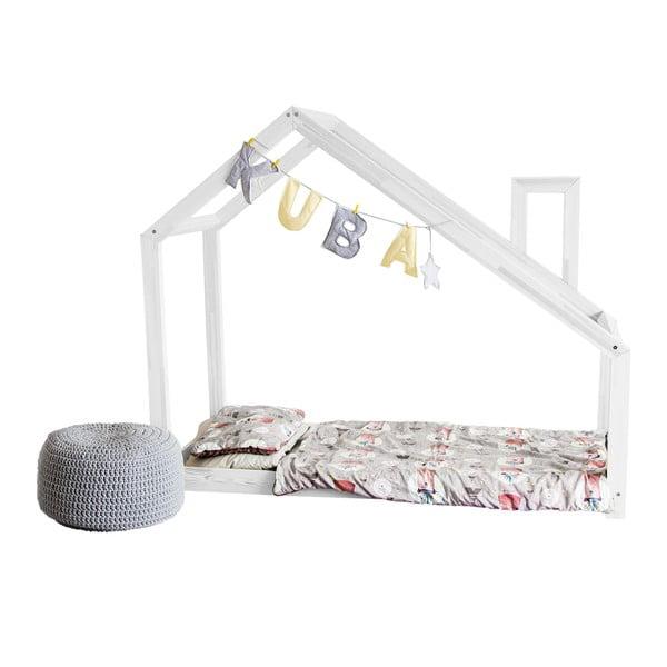 Dětská bílá postel z borovicového dřeva Benlemi Deny,90x180cm